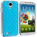 Samsung Galaxy S4 Baby Blue Leather Metal Quilted Hard/Soft Case Cover Angle 1