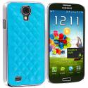 Samsung Galaxy S4 Baby Blue Leather Metal Quilted Hard/Soft Case Cover Angle 2
