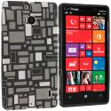 Nokia Lumia 929 Icon Black White Squares TPU Design Soft Case Cover Angle 1