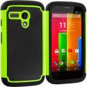 Motorola Moto G Black / Neon Green Hybrid Rugged Hard/Soft Case Cover Angle 1
