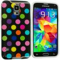 Samsung Galaxy S5 Black / Colorful TPU Polka Dot Skin Case Cover Angle 2
