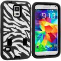Samsung Galaxy S5 Black Hybrid Zebra 3-Piece Case Cover Angle 1