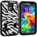 Samsung Galaxy S5 Black Hybrid Zebra 3-Piece Case Cover Angle 2