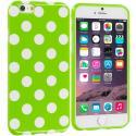 Apple iPhone 6 6S (4.7) Neon Green / White TPU Polka Dot Skin Case Cover Angle 1