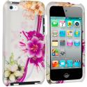 Apple iPod Touch 4th Generation Purple Flower Chain 2D Hard Rubberized Design Case Cover Angle 1