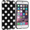 Apple iPhone 6 Plus 6S Plus (5.5) Black / White TPU Polka Dot Skin Case Cover Angle 1