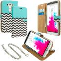 LG G3 Mint Green Zebra Leather Wallet Pouch Case Cover with Slots Angle 1