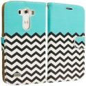 LG G3 Mint Green Zebra Leather Wallet Pouch Case Cover with Slots Angle 2