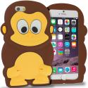 Apple iPhone 6 6S (4.7) Brown Monkey Silicone Design Soft Skin Case Cover Angle 1