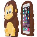 Apple iPhone 6 6S (4.7) Brown Monkey Silicone Design Soft Skin Case Cover Angle 2