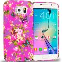 Samsung Galaxy S6 Edge Purple Mixed Flower TPU Design Soft Rubber Case Cover Angle 1