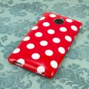 HTC 8XT - Red Polka Dots MPERO SNAPZ - Glossy Case Cover Angle 3