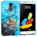 LG G Stylo 2 LS775 Blue Butterfly Flower TPU Design Soft Rubber Case Cover Angle 1