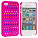 Apple iPhone 4 / 4S Rainbow Hot Pink Hard Rubberized Back Cover Case Angle 1