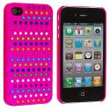 Apple iPhone 4 / 4S Rainbow Hot Pink Hard Rubberized Back Cover Case Angle 2