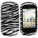 LG DoublePlay C729 / Flip II Black / White Zebra Design Crystal Hard Case Cover Angle 1