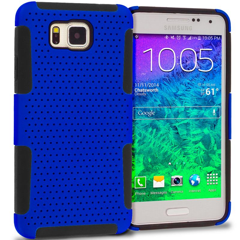 Samsung Galaxy Alpha G850 Black / Blue Hybrid Mesh Hard/Soft Case Cover Angle 1