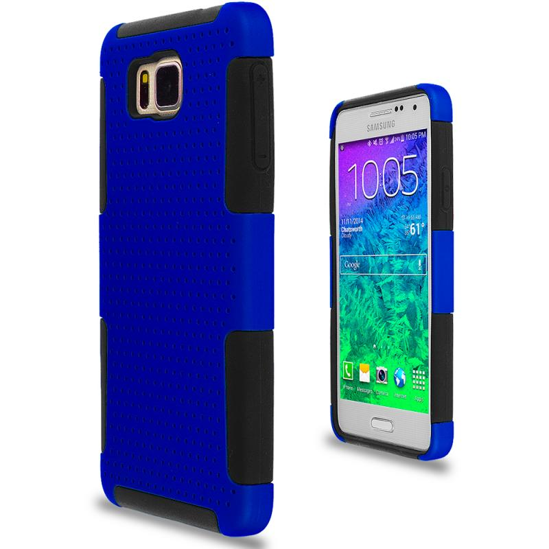Samsung Galaxy Alpha G850 Black / Blue Hybrid Mesh Hard/Soft Case Cover Angle 2