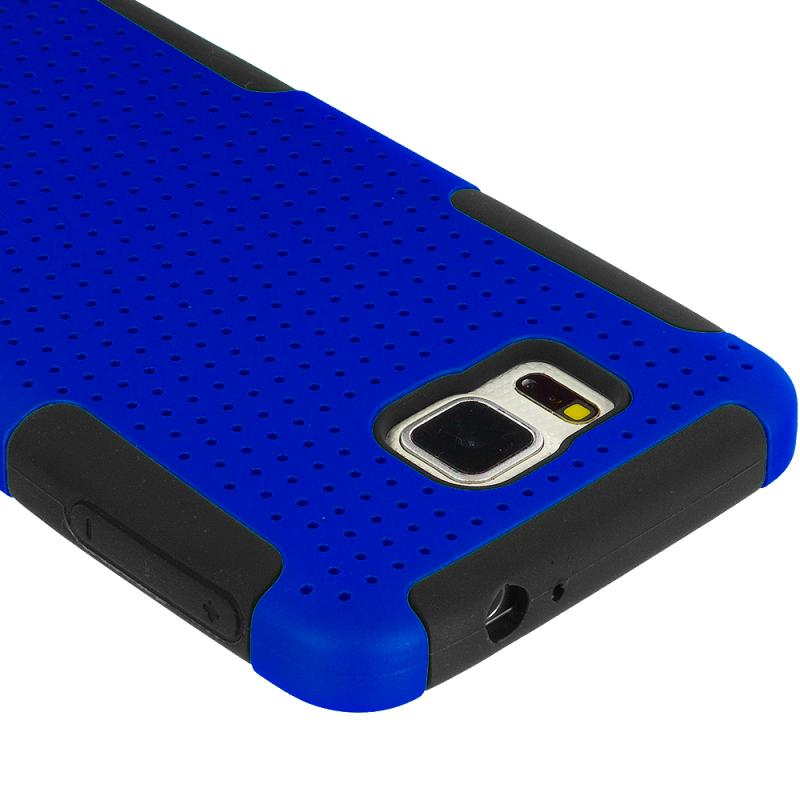 Samsung Galaxy Alpha G850 Black / Blue Hybrid Mesh Hard/Soft Case Cover Angle 3