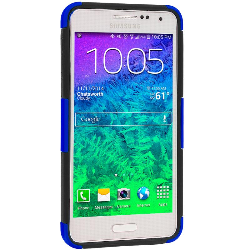 Samsung Galaxy Alpha G850 Black / Blue Hybrid Mesh Hard/Soft Case Cover Angle 4
