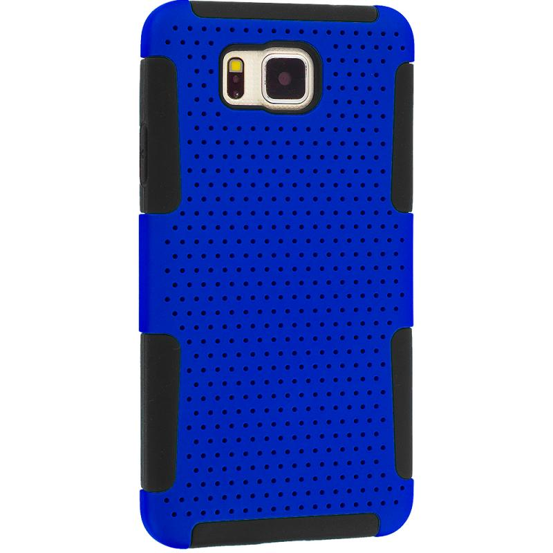 Samsung Galaxy Alpha G850 Black / Blue Hybrid Mesh Hard/Soft Case Cover Angle 5