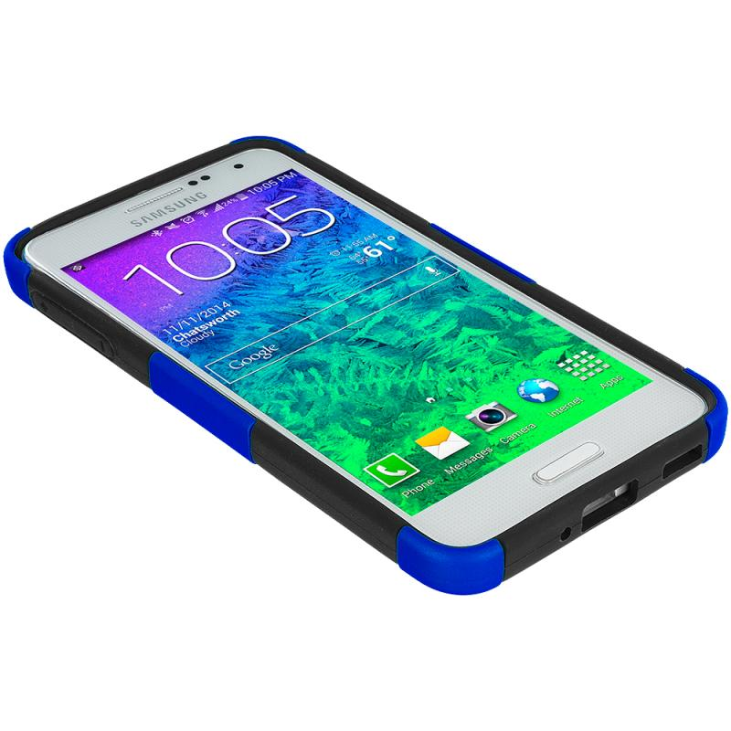 Samsung Galaxy Alpha G850 Black / Blue Hybrid Mesh Hard/Soft Case Cover Angle 6