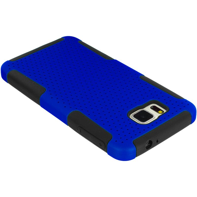 Samsung Galaxy Alpha G850 Black / Blue Hybrid Mesh Hard/Soft Case Cover Angle 7