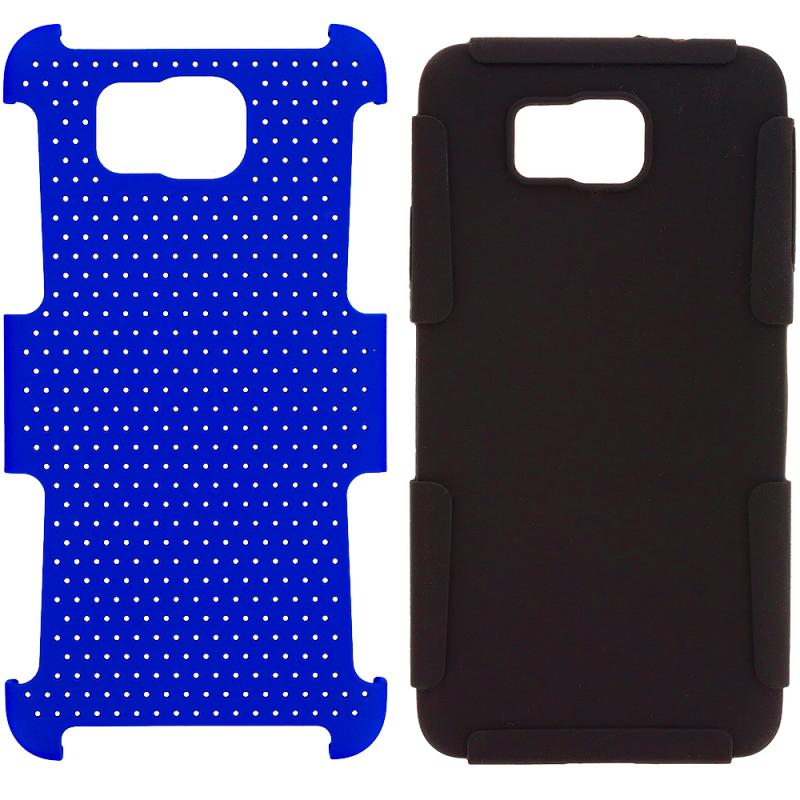 Samsung Galaxy Alpha G850 Black / Blue Hybrid Mesh Hard/Soft Case Cover Angle 8