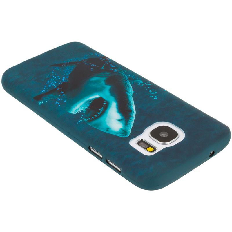 Samsung Galaxy S7 Edge Shark TPU Design Soft Rubber Case Cover Angle 2