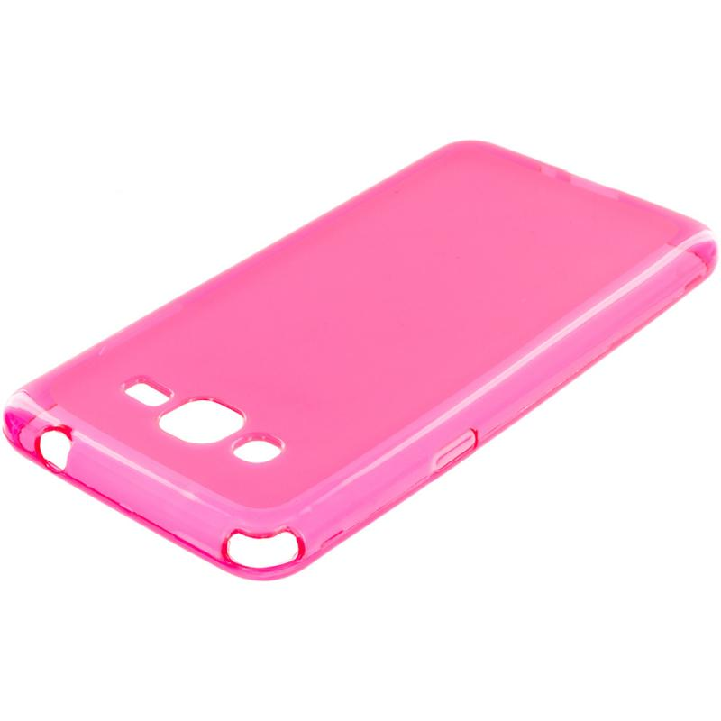 Samsung Galaxy Grand Prime LTE G530 2 in 1 Combo Bundle Pack - Clear Pink TPU Rubber Skin Case Cover Angle 2