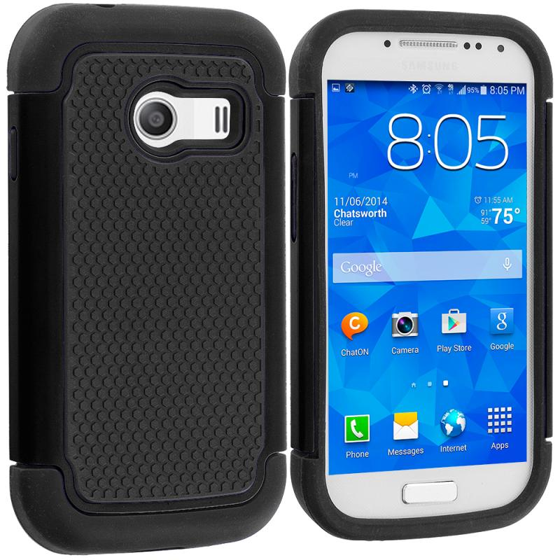 Samsung Galaxy Ace Style S765C Black / Black Hybrid Rugged Grip Shockproof Case Cover Angle 1