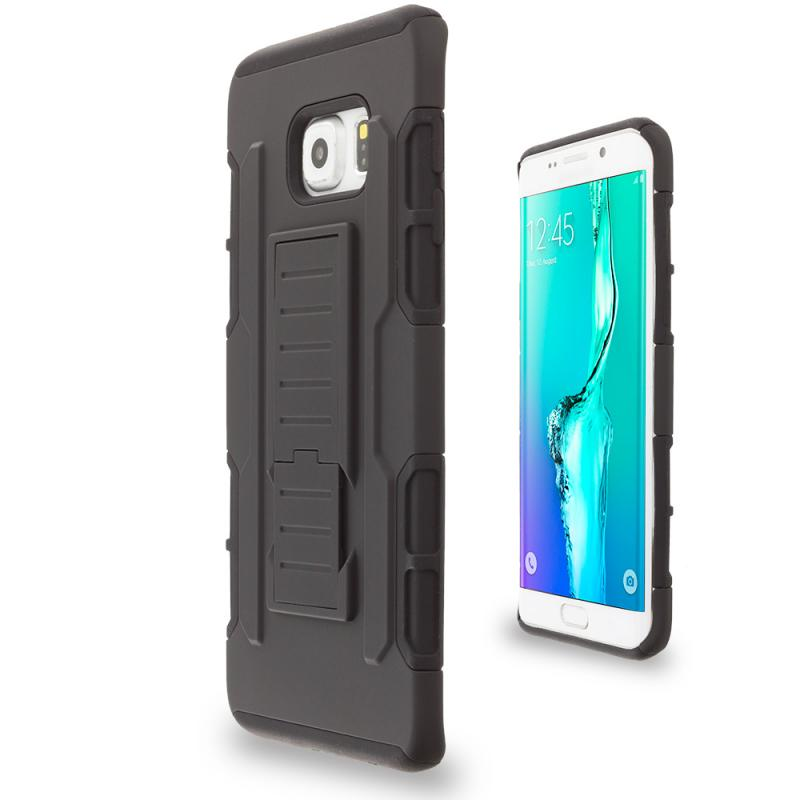 ... Samsung Galaxy S6 Edge Plus + Black Hybrid Rugged Robot Armor Heavy  Duty Case Cover With ...