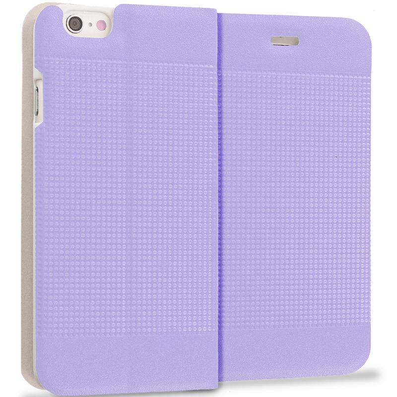 Apple iPhone 6 6S (4.7) Purple Slim Wallet Flip Design Case Cover Angle 1