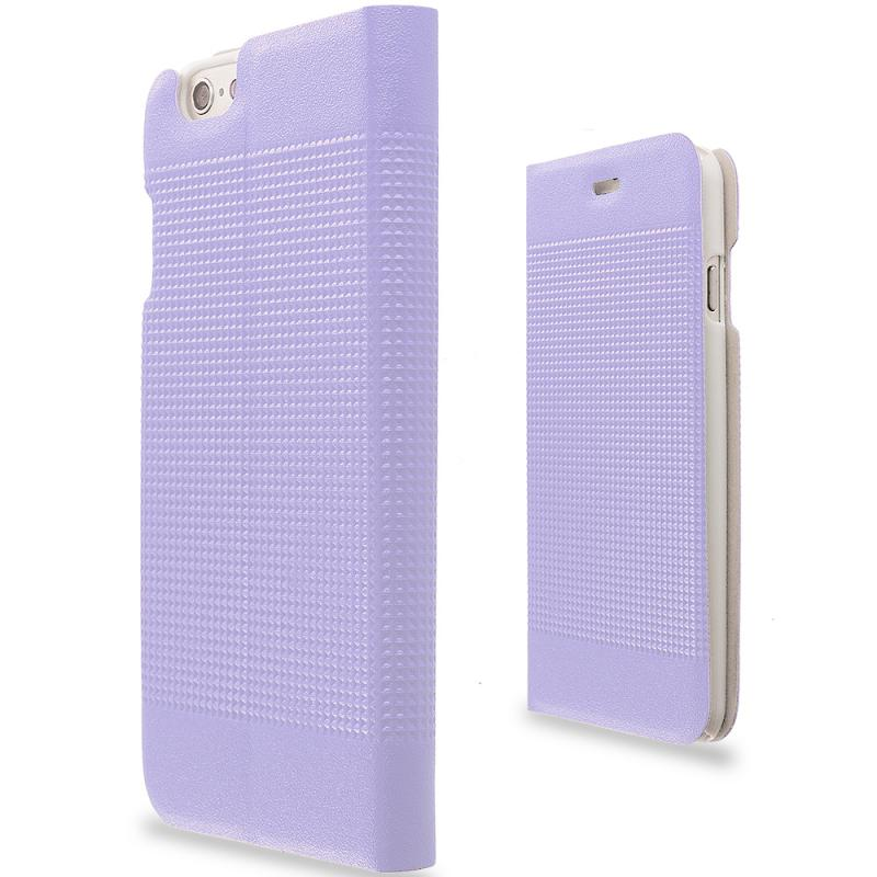 Apple iPhone 6 6S (4.7) Purple Slim Wallet Flip Design Case Cover Angle 2