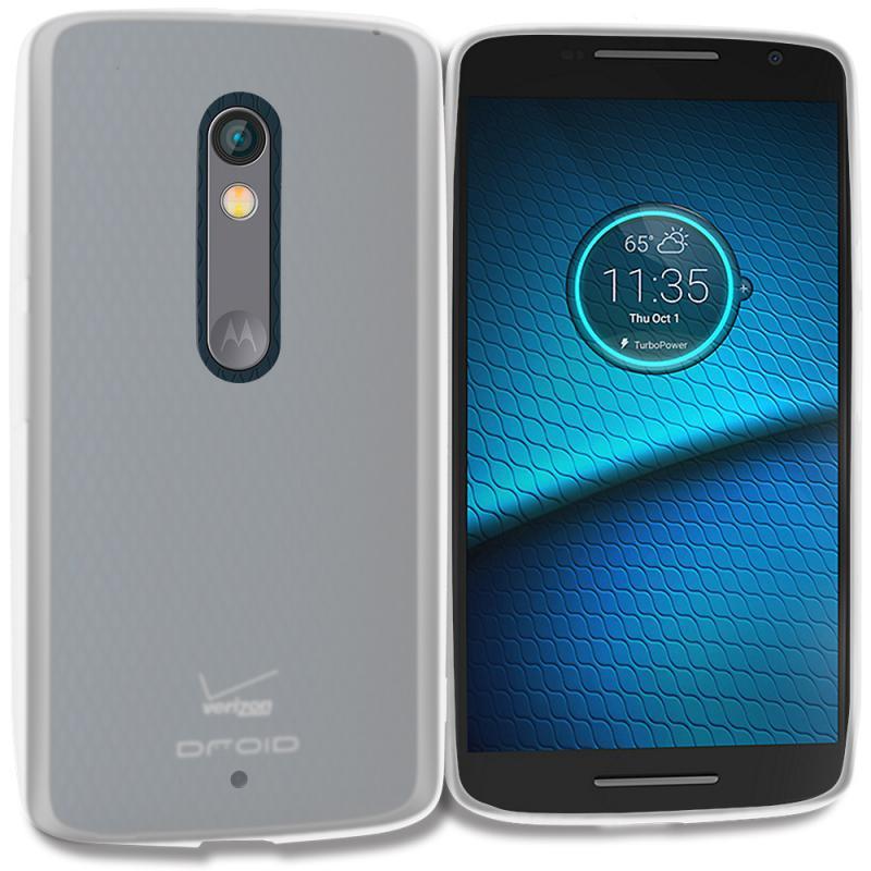 Motorola Droid Maxx 2 XT1565 Clear TPU Rubber Skin Case Cover Angle 1