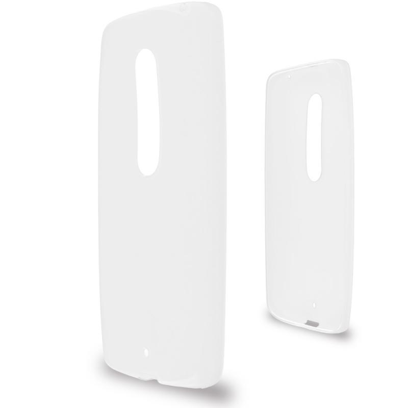 Motorola Droid Maxx 2 XT1565 Clear TPU Rubber Skin Case Cover Angle 2