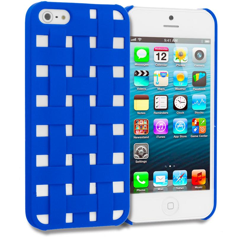 Apple iPhone 5 Combo Pack : Blue Handwoven Hard Rubberized Back Cover Case Angle 1