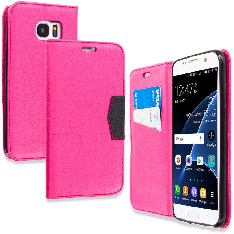 Samsung Galaxy S7 Edge Hot Pink Wallet Flip Leather Pouch Case Cover with ID Card Slots Angle 1