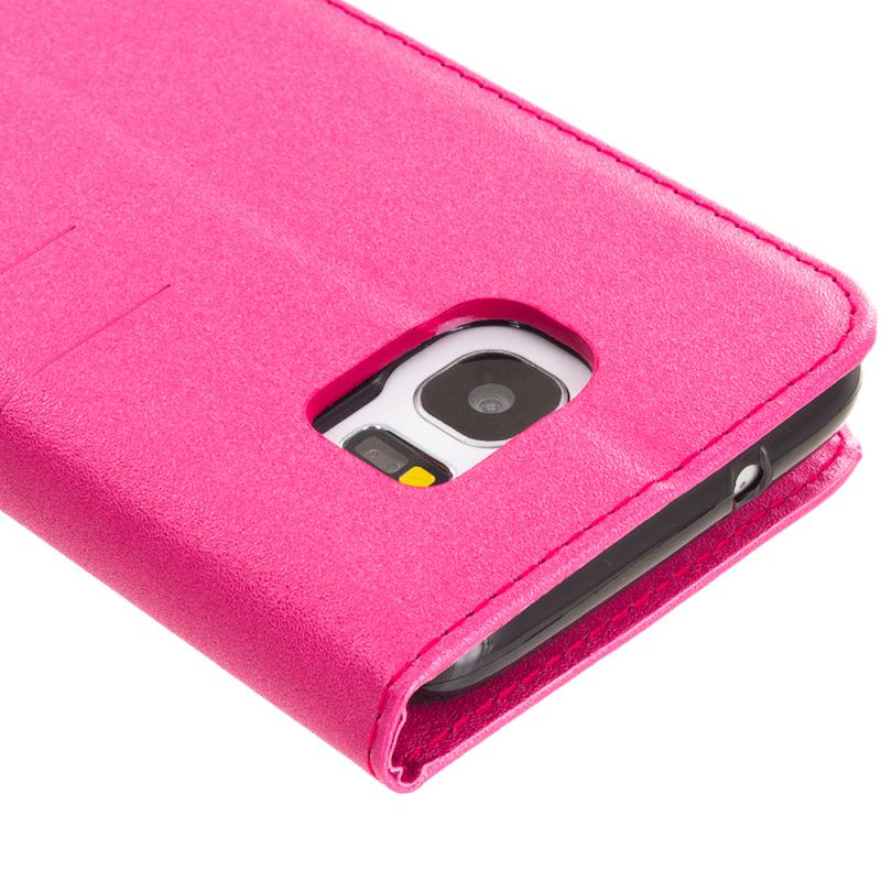 Samsung Galaxy S7 Edge Hot Pink Wallet Flip Leather Pouch Case Cover with ID Card Slots Angle 3