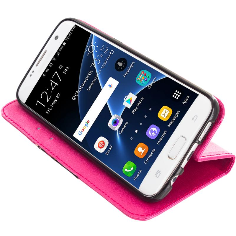 Samsung Galaxy S7 Edge Hot Pink Wallet Flip Leather Pouch Case Cover with ID Card Slots Angle 4