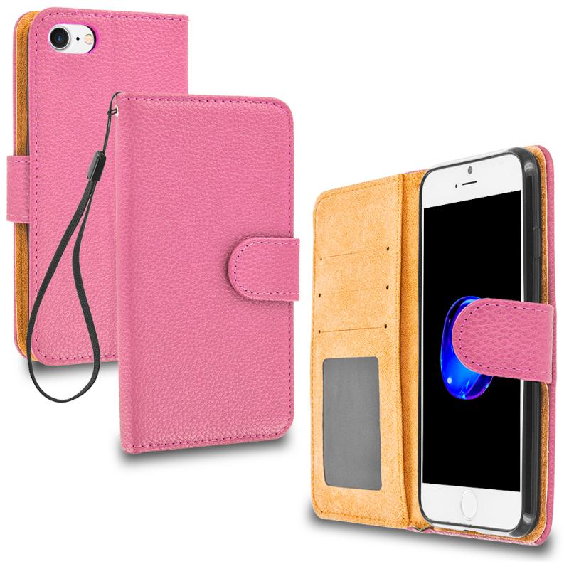 Apple iPhone 7 Plus Light Pink Leather Wallet Pouch Case Cover with Slots Angle 1