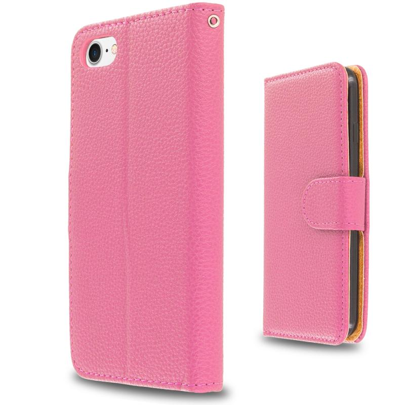 Apple iPhone 7 Plus Light Pink Leather Wallet Pouch Case Cover with Slots Angle 2