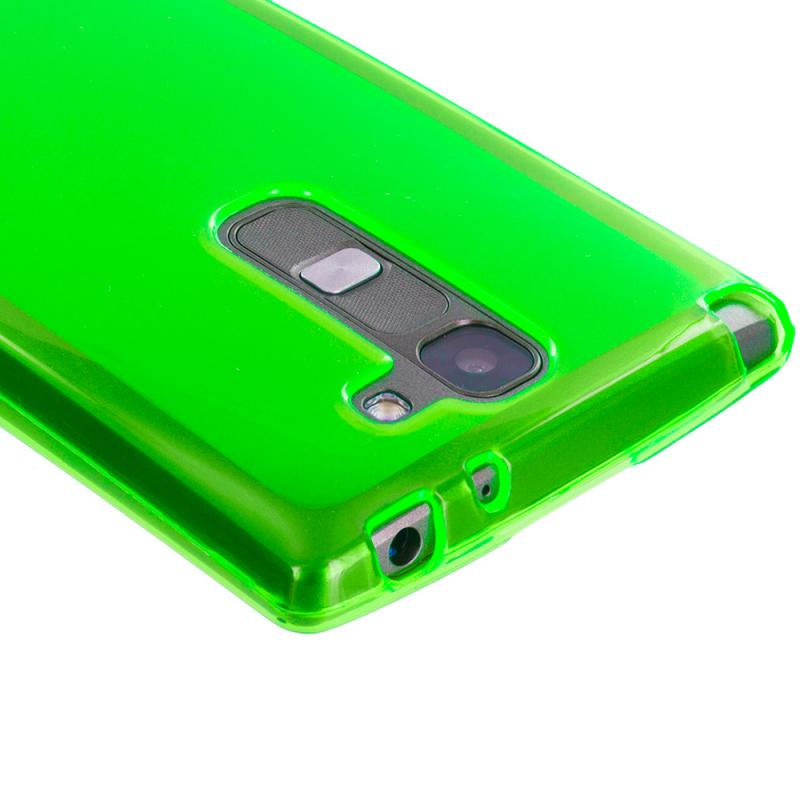 LG Volt 2 LS751 Neon Green TPU Rubber Skin Case Cover Angle 3