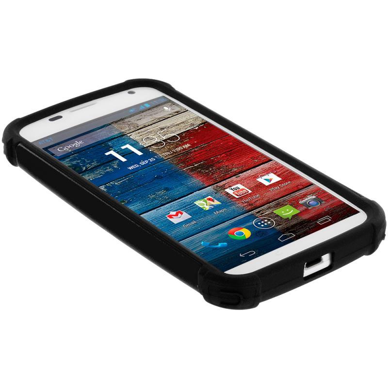 Black / Black Hybrid Rugged Hard/Soft Case Cover for Motorola Moto X ...
