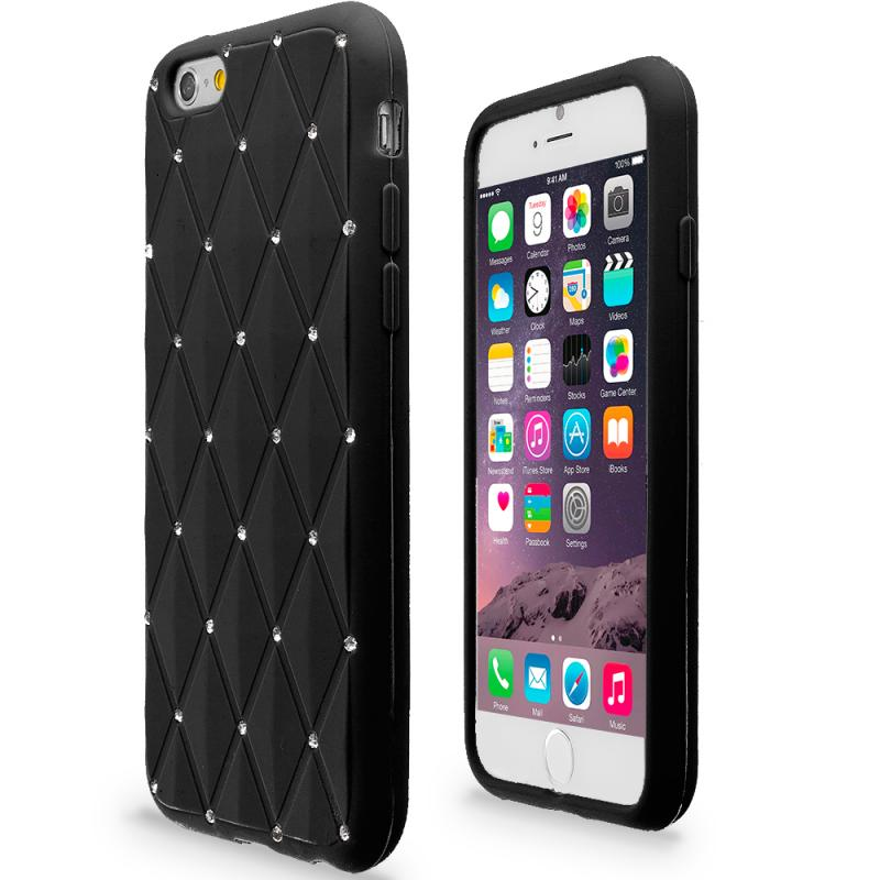 Apple iPhone 6 Black Diamond Bling Silicone Soft Rubber Skin Case Cover Angle 2