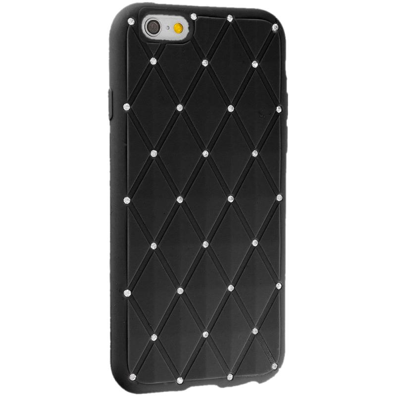 Apple iPhone 6 Black Diamond Bling Silicone Soft Rubber Skin Case Cover Angle 5