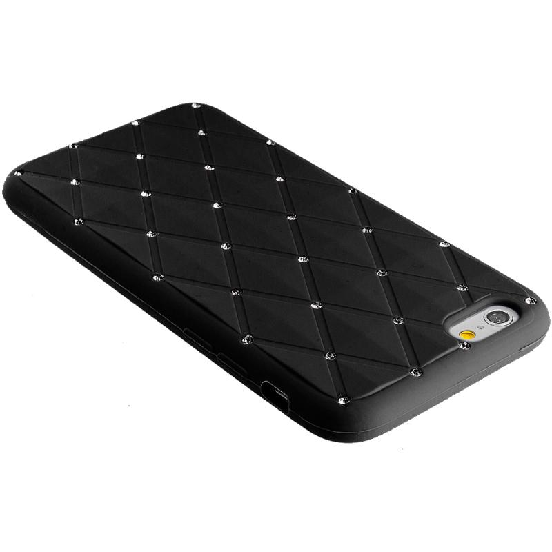 Apple iPhone 6 Black Diamond Bling Silicone Soft Rubber Skin Case Cover Angle 7