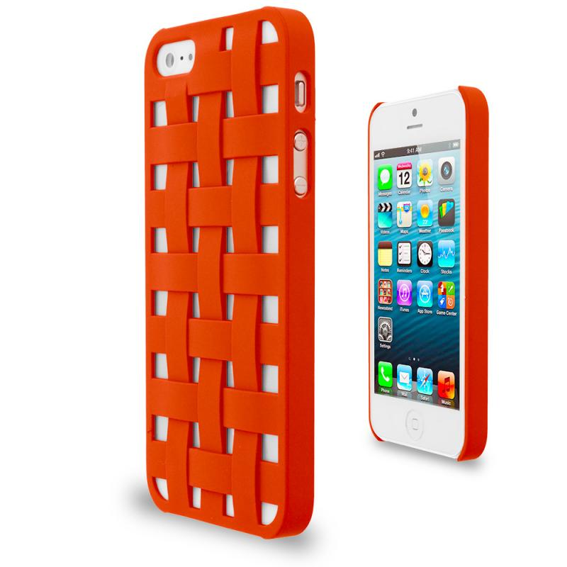 Apple iPhone 5 Combo Pack : Blue Handwoven Hard Rubberized Back Cover Case Angle 2