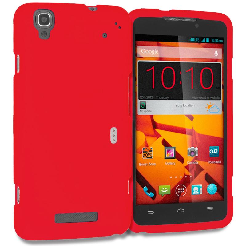 ZTE Boost Max Max Plus + N9521 Red Hard Rubberized Case Cover Angle 1