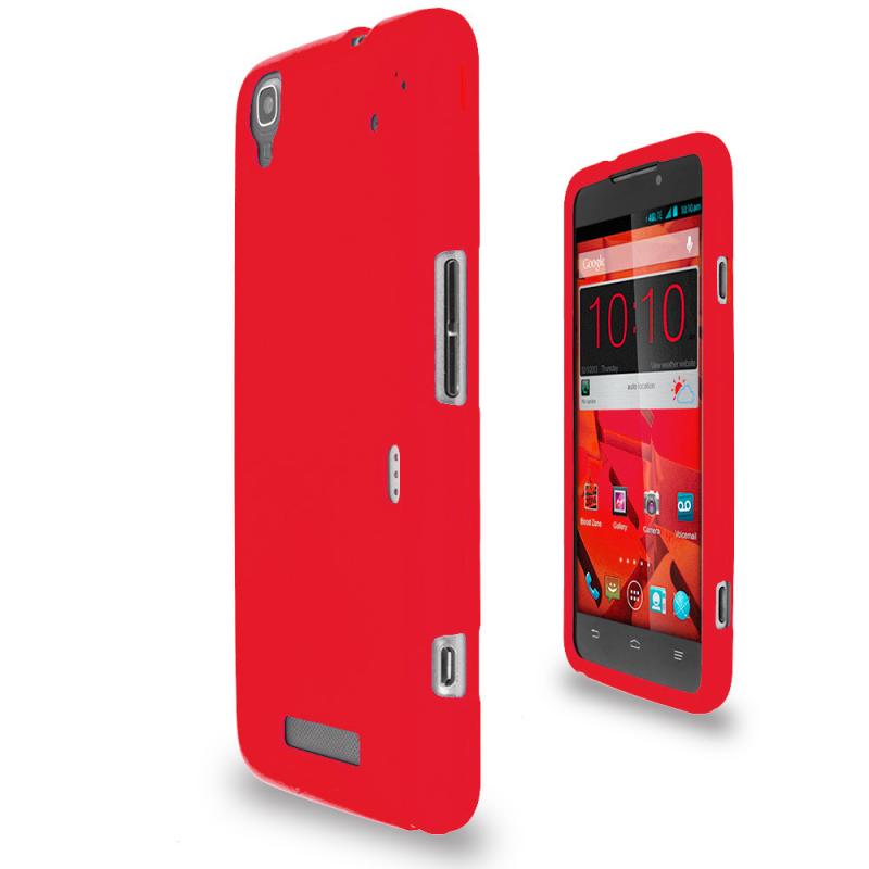 ZTE Boost Max Max Plus + N9521 Red Hard Rubberized Case Cover Angle 2